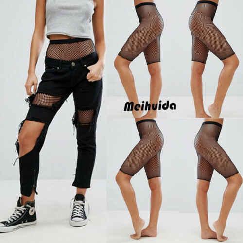Lato nowy kobiety przybycia na co dzień sportowy siatki kabaretki wysoka talia Bodycon bandaż krótki Hot Sexy czarne legginsy spodnie Clubwears