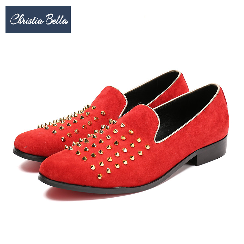 Christia Bella Luxury Designer Gold Rivets Men Loafers Party Banquet Men Dress Shoes Red Casual Smoking Slippers Male Flat Shoes handmade red suede men shoes with gold rhinestone and gold toe metal party and banquet men dress loafers male s flats