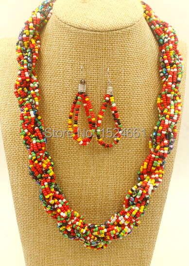 Fashion Twist exaggerated multi layers colorful seed african beads jewelry bib statement chunky necklace collar wholesal