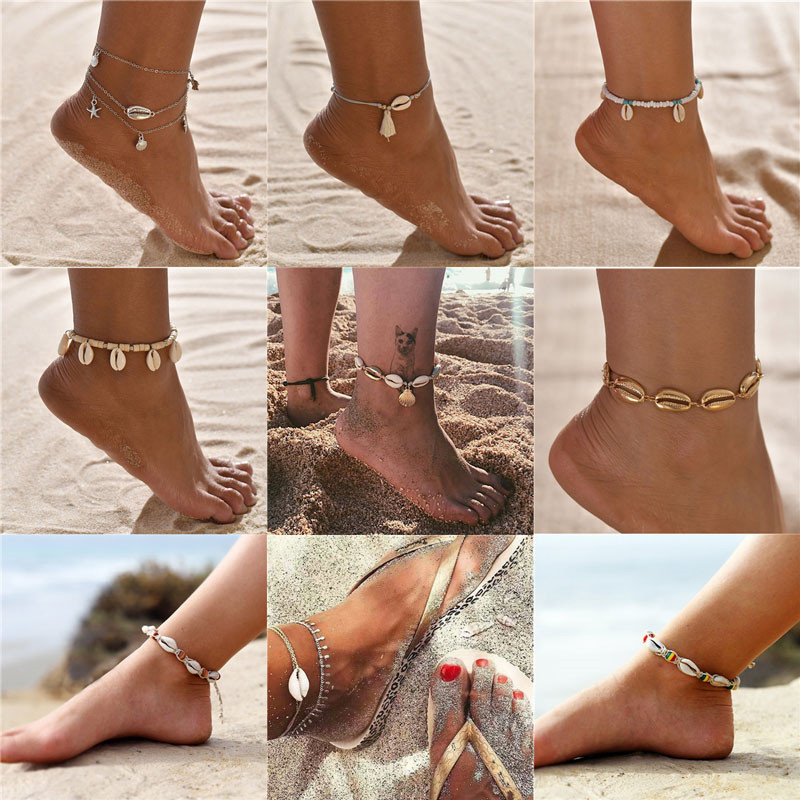 ZORCVENS Boho Multilayer Shell Beads Anklets For Women Vintage Beach Rope Ankle Bracelet on Leg Summer Foot Jewelry
