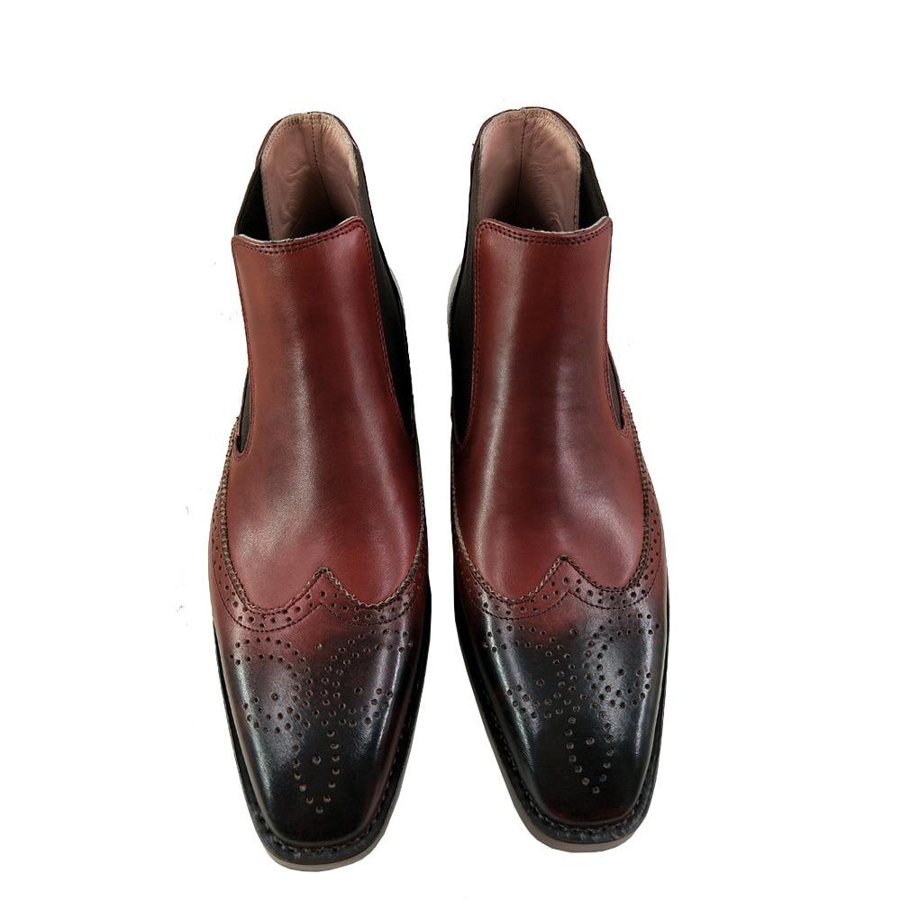 Européenne Richelieu Sipriks Rétro Robe Wingtip Sculpté Hommes Chaussures Patina Cousu 44 De Luxe Bottes Goodyear Chelsea Taille Italien BxrCode