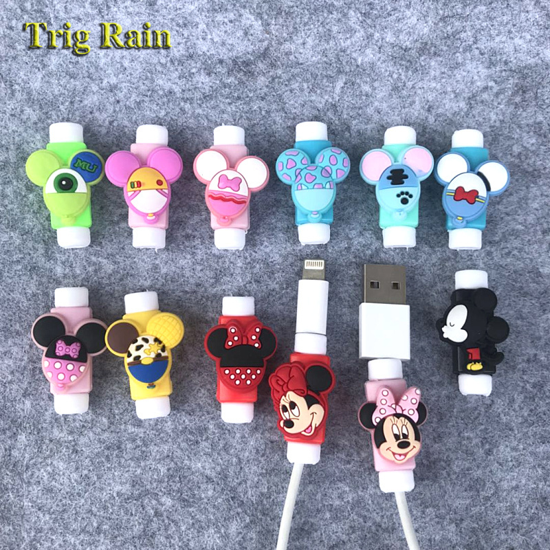 Cute Cartoon Mickey Minnie Cable Protector For iPhonex 4 5 6s 7 8 USB Charging Data Line Cord Protector Case Cable Winder Cover(China)