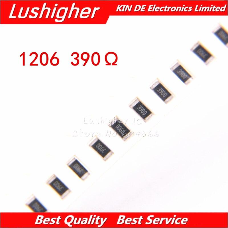 100PCS 1206 SMD Resistor 1% 390 Ohm 391 390R 390ohm