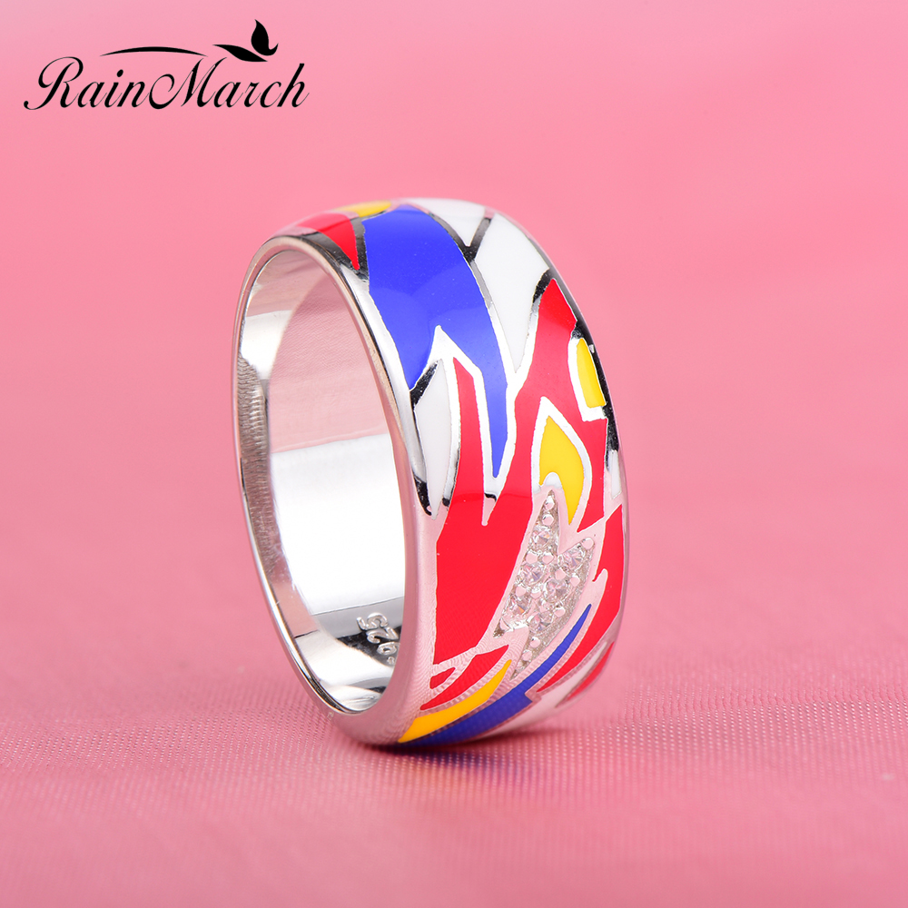 RainMarch Bohemian Enamel Male Ring For Women Authentic 925 Sterling ...