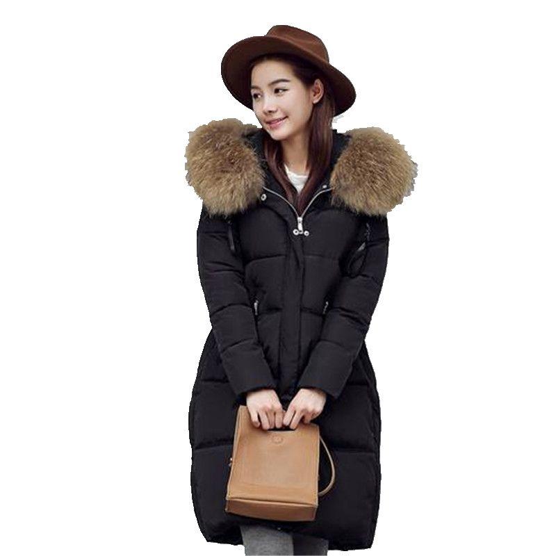 2016 Winter Warm Large Fur Collar Ladies Cotton padded Jacket Women Fashion Cotton padded Loose Eiderdown