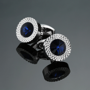 Novelty Luxury Blue white Brand High Quality crown Crystal gold silver Shirt Cuff Links 1