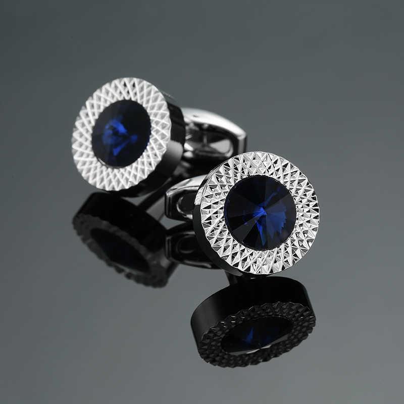 참신 럭셔리 블루 화이트 커프스 단추 브랜드 고품질 크라운 크리스탈 골드 은빛 커프스 단추 셔츠 커프스 단추
