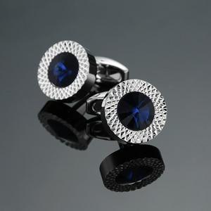 Novelty Luxury Blue white Cufflinks for Mens Brand High Quality crown Crystal gold silver Cufflinks Shirt Cuff Links