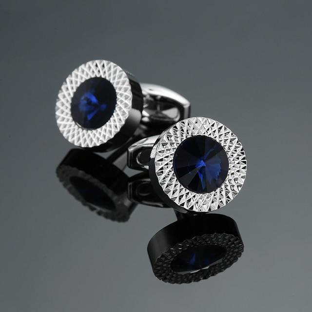 Novelty Luxury Blue white Cufflinks for Mens  Brand High Quality crown Crystal gold silver Cufflinks Shirt Cuff Links 1