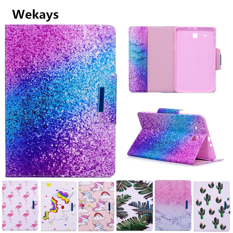 Wekays Case for Samsung Galaxy Tab E 9.6 T560 T561 SM-T560 Cute Cartoon Flamingo Unicorn PU Flip Leather Cover Case Fundas Capa yh printed flip stand skull cute owi leopard pu leather cover case for samsung galaxy tab e 9 6 inch tablet t560 t561 sm t560
