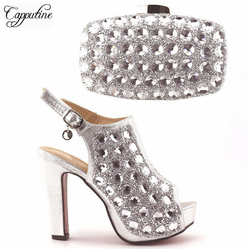 Capputin High Quality Fashion Women Party Shoes With Matching Bags Italian High Heels Shoes And Bags Set For Wedding Dress fashion italian shoes with matching bags for party high quality shoes and bags set for wedding szie 37 or 43 mhy1 26
