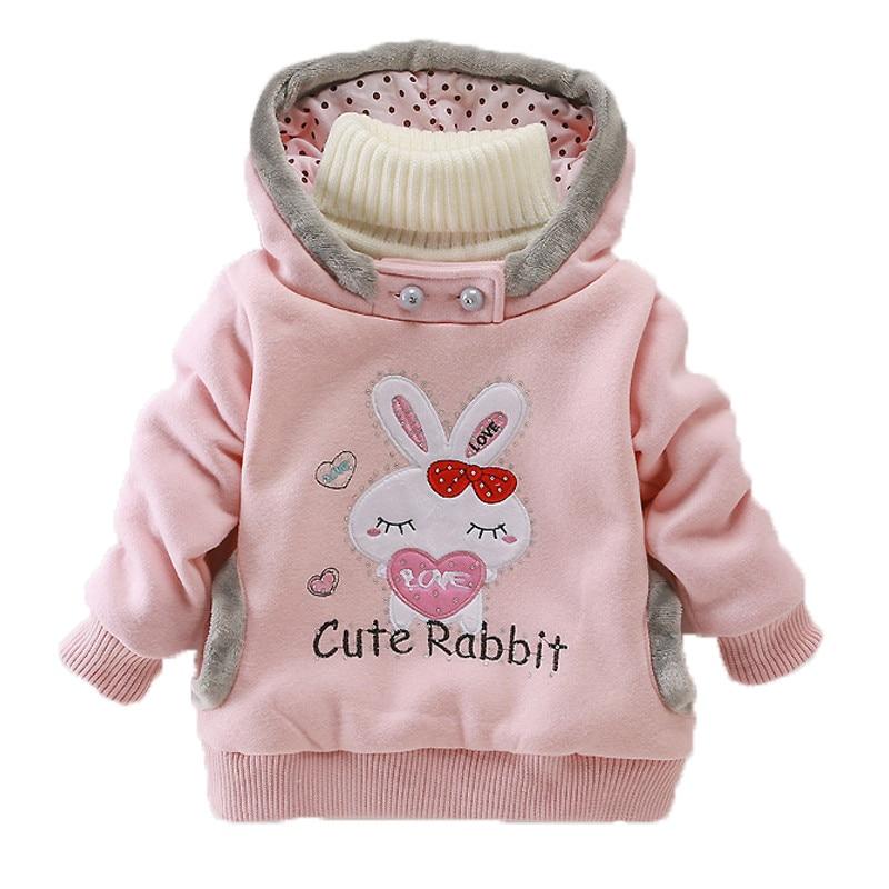 Girls Sweatshirts Hoodies Children Clothing Autumn And Winter Baby girl Thick Cotton Tops Kids Cute Cartoon Rabbit Hooded Coat 2