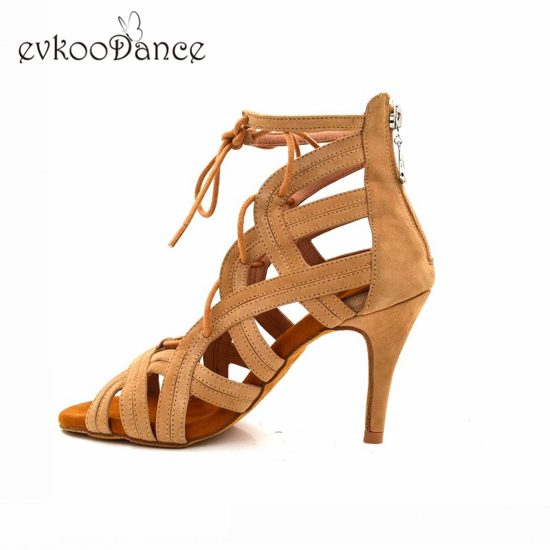 Evkoodance 8.5 cm Altura Do Salto Cáqui Nubuck Sapatos de Dança Latina Profissionais Evkoo-509 Zapatos De Baile Para As Mulheres