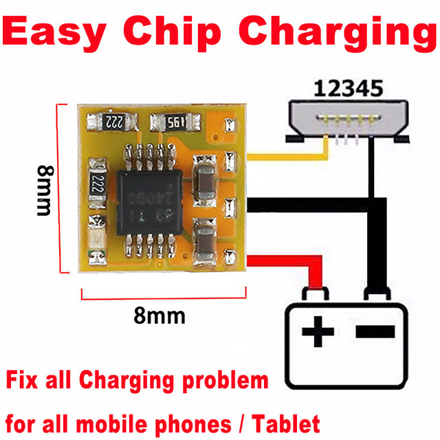 10pcs Original EASY CHIP CHARGE ECC fix all charge problem for all mobile phones and tablet (IC ,PCB problem)