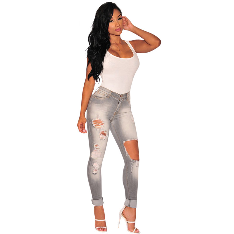 Stretch Bodycon Sexy Gray Hollow Out Big Hole Jeans