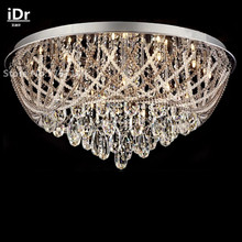 Modern round crystal ceiling lights high quality living room bedroom hall lighting LED lamp warm 100