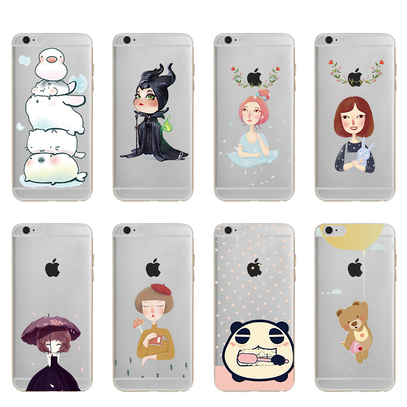 Hot Sale Fashion Cases Cartoon Character Bear Pattern Soft TPU Silicone Case Cover For Apple iphone X 8 7 Plus 6 6S 5 5S #073
