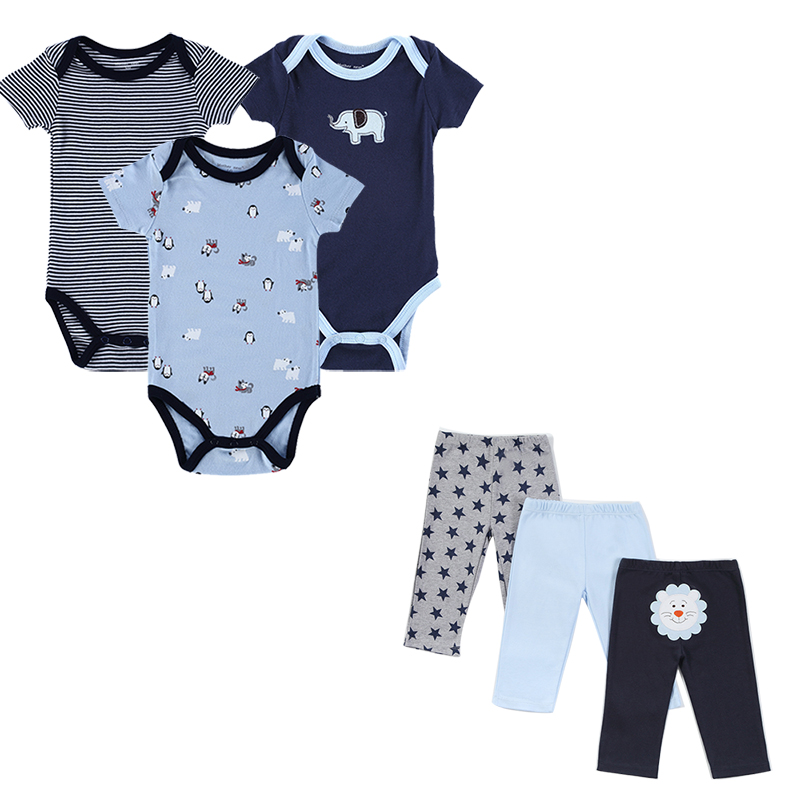 3 set / lot Barnklädsel Set Infant Baby Boys Set Striped Baby - Babykläder