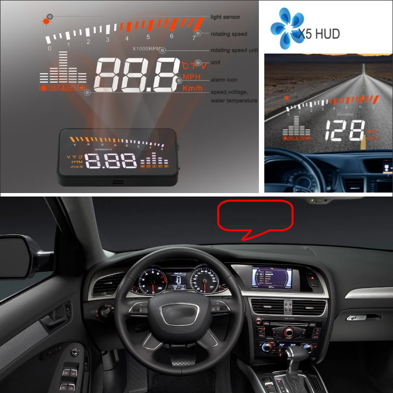 Liislee For Audi A4 / S4 / RS4 - Car Projector Screen Display safety driving information on windshield HUD Head Up Display