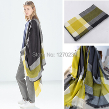 WJ11 Winter 2014 Tartan Scarf Plaid Blanket Scarf Women Blanket Oversized Wrap Shawl Cozy Checked Yellow Free Shipping