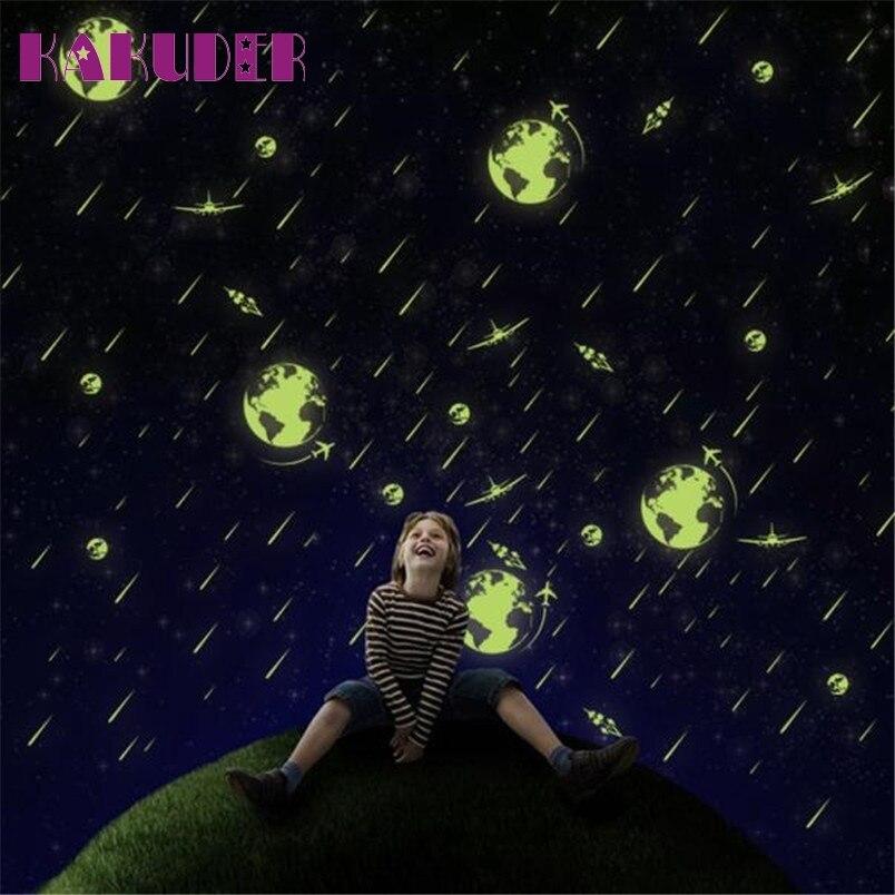 Kakuder люминесцентные Светящиеся в темноте метеоритный дождь настенные наклейки светящиеся наклейки для детской комнаты Спальня 1 комплект #...