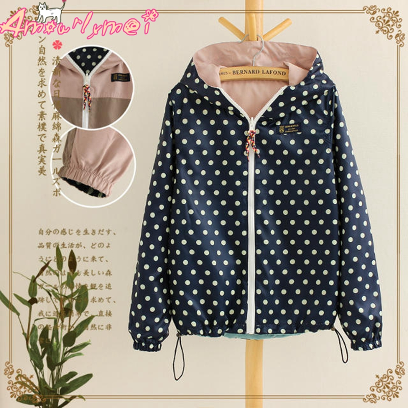 Spring Autumn Women Jacket Coat Casual Loose Pocket Zipper Hooded Two Side Wear Polka Dot Print Outerwear Bomber Basic Jacket