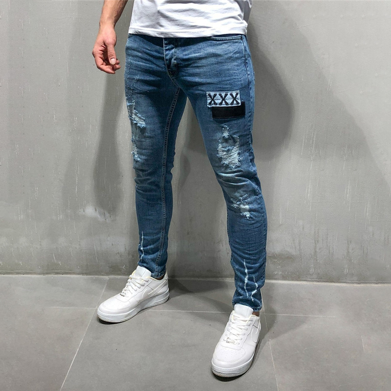 Skinny Hole Ripped Denim Jeans For Men Hip Hop Slim Fit Streetwear Patchwork Words Distressed Black Pencil Pants