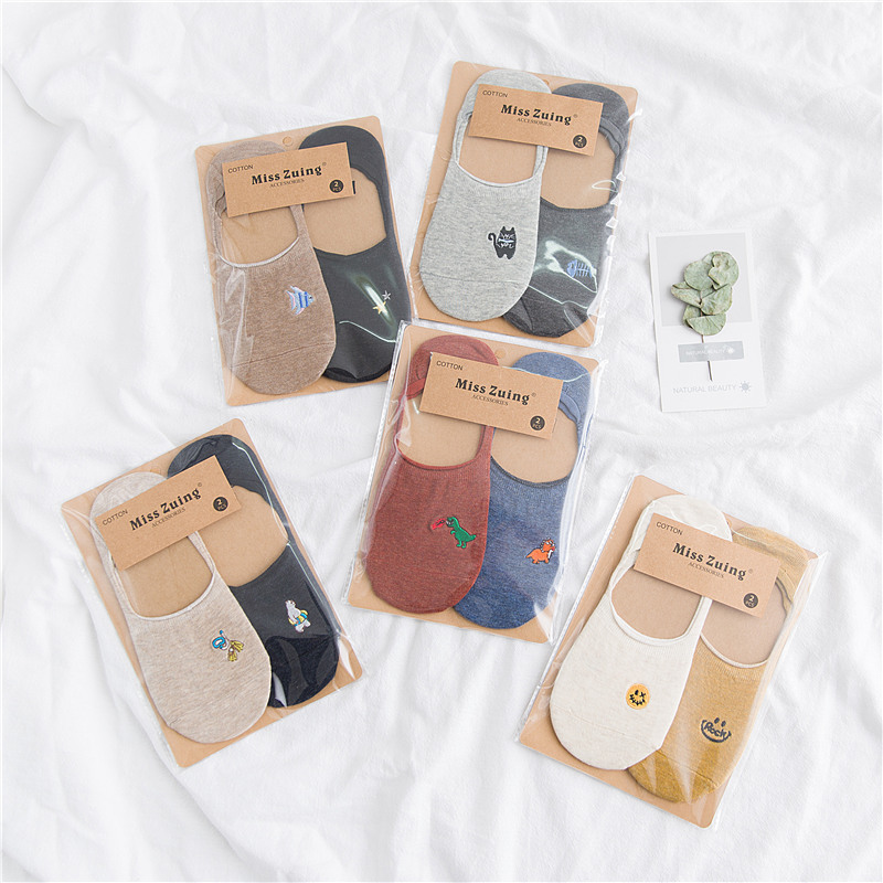 2018 spring summer women   socks   2 pairs short cotton color cute creative print women fashion   socks   for women korean style