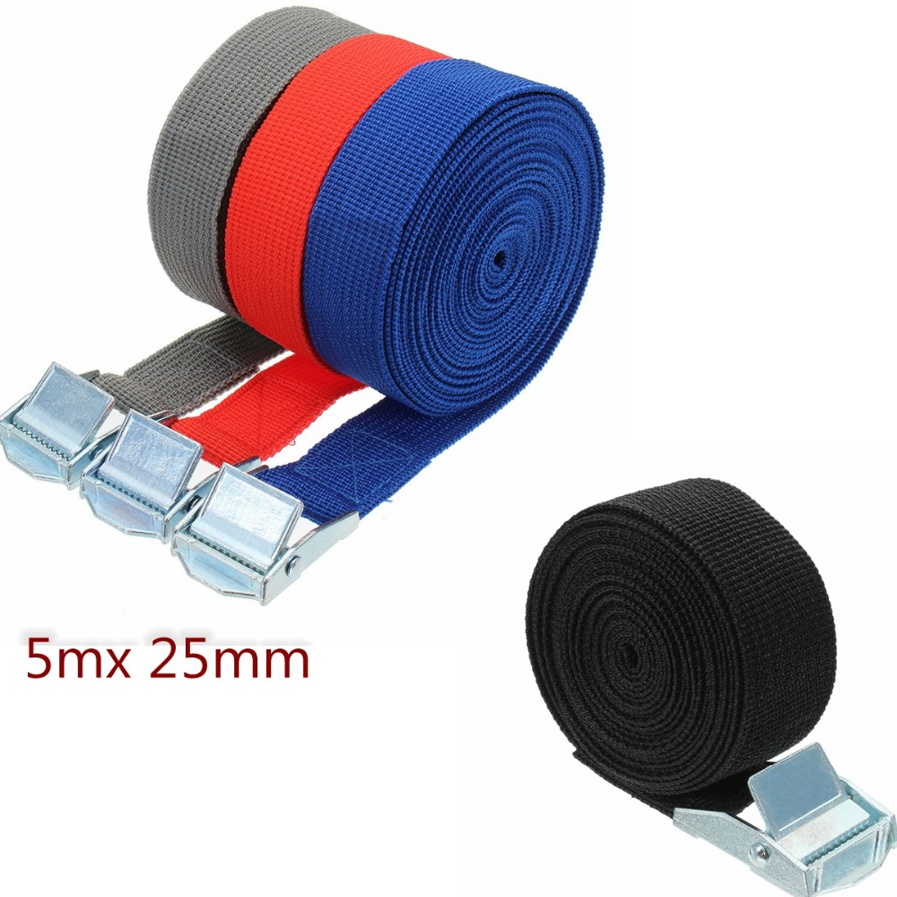 5m Car Tension Rope Ratchet Tie Luggage Strap Tied Auto Car Boat Fixed Strap Luggage Belt With Alloy Buckle(China)