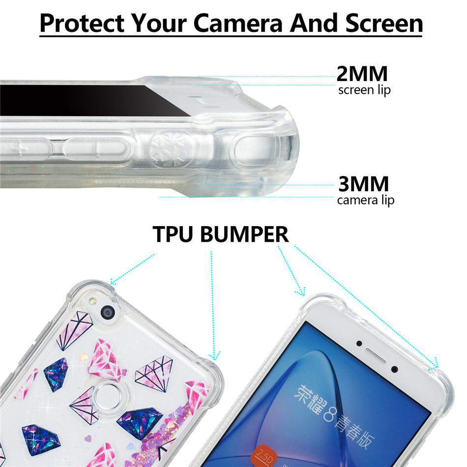 DEEVOLPO Case For Fundas Huawei P10Mini P9 P8 Mini 2017 Dog Pony Owl Quicksand Dynamic Liquid Glitter Silicone Back Cover D03G in Half wrapped Cases from Cellphones Telecommunications