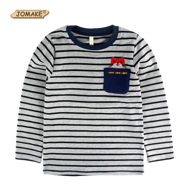 Carácter Niños Tops Manga Larga A Rayas Camiseta Del Bebé Camisetas de Los Niños del Otoño Niño Niños Ropa Casual de Alta Calidad Camiseta de Los Niños
