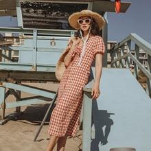 цена на 2019 Summer New V-neck Bow Plaid Dress V-Neck Plaid Straight Women Dress