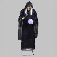 Хэллоуин бутафория для Хэллоуина Индукционная электрическая Ужасный Призрак Ведьмы украшения станции призраки Взять мяч накидка ведьмы д...