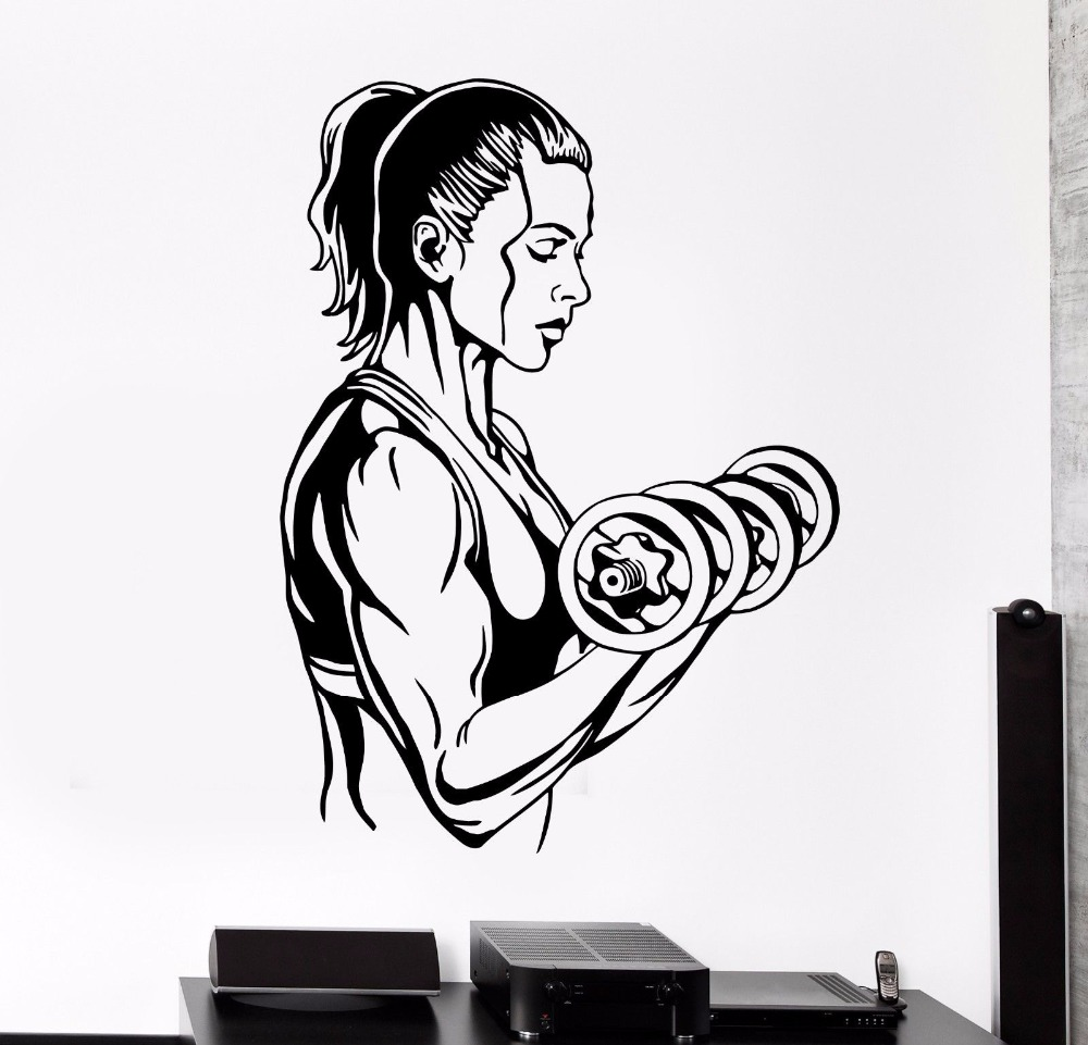 Sticker gym wall - Fitness Art Wall Decal Sport Activity Woman Girl Gym Dumbell Pvc Wall Sticker Fitness Club Gym Bedroom Home Decoration In Wall Stickers From Home Garden
