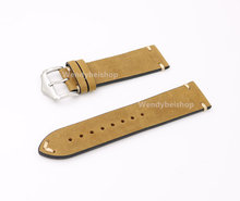 CARLYWET 20 22 24mm Real Calf Leather Light Brown Suede VINTAGE Replacement Wrist Watch Band Strap Belt Silver Polish Pin Buckle