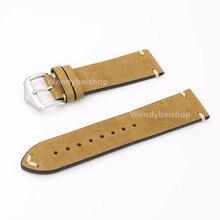 Correa de reloj de pulsera CARLYWET 20 22 24mm de cuero marrón claro de gamuza VINTAGE de repuesto para Rolex Omega Tudor Citizen Armani Panerai