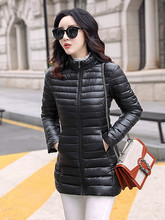 Fashion New Light Female Cotton Coat  Long Section Slim Large Size Simple Stand Collar Sleeve Down Padded Jacket