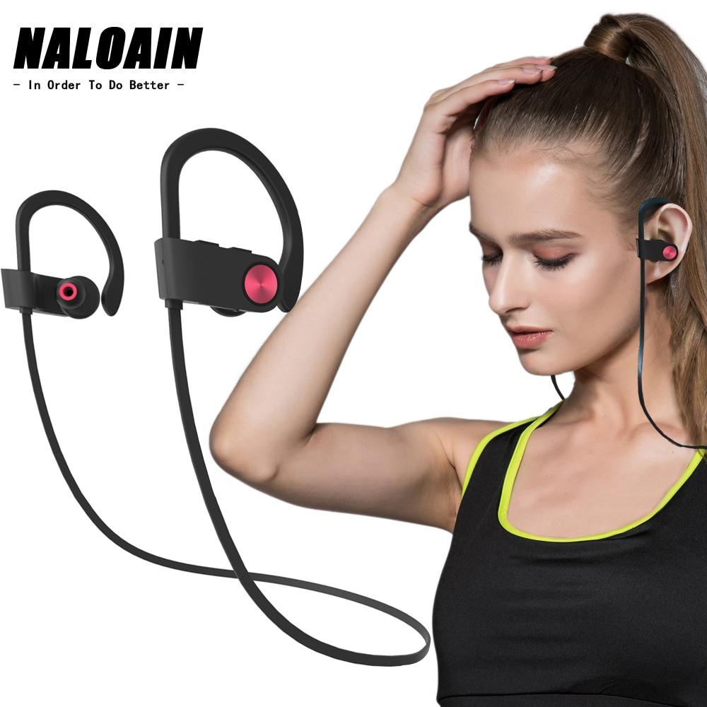 NALOAIN Bluetooth Headset Sport Bass IPX7 Waterproof Wireless Earphone Stereo Neckband Headphone With Microphone For Smartphone