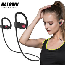 NALOAIN Bluetooth Headset Sport Bass IPX7 Waterproof Wireless Earphone Stereo Neckband Headphone With Microphone For Smartphone(China)
