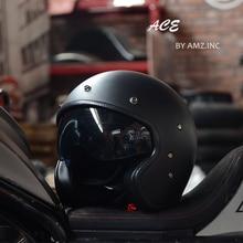 AMZ 1938 с открытым лицом Половина мото rcycle шлем внутренние солнцезащитные очки винтажные Ретро мото rbike шлемы скутер Чоппер мото гоночные шлемы