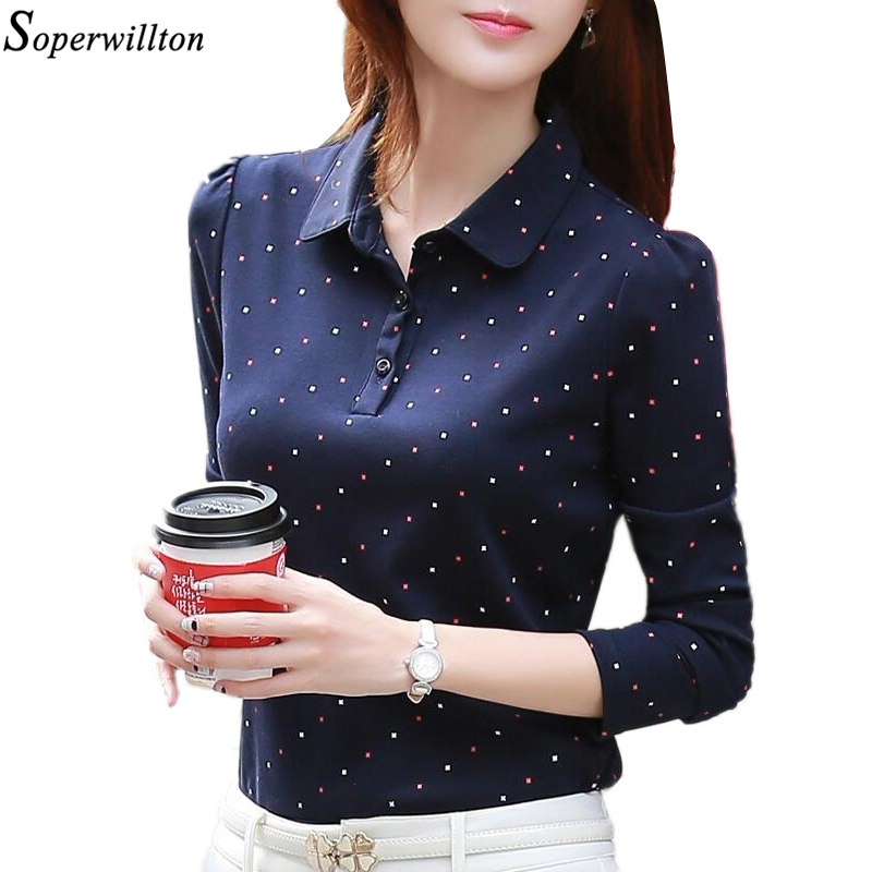 27f4bf2e89 US $10.64 44% OFF|100% Cotton Polo Shirt Women Long Sleeve Shirt Office  Work Wear Lady 2019 Spring Autumn Polka Dot Top Female Slim Plus Size G8-in  ...