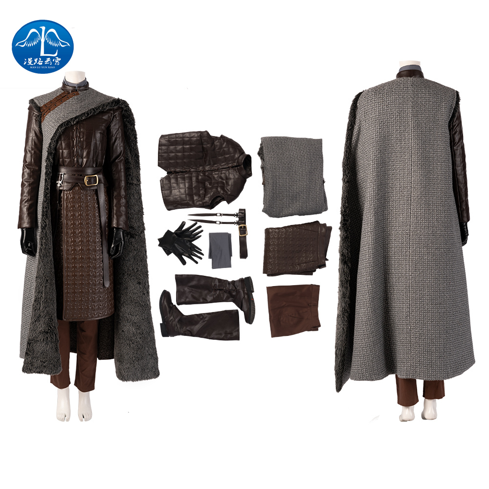 Manluyunxiao Game of Thrones Costume Melisandre  Arya Stark Cosplay Adult Halloween Christmas Faux Leather Women