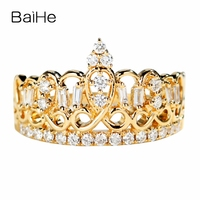 BAIHE Solid 14K Yellow Gold About 0.33ct Certified H/SI Round 100% Genuine Natural Diamonds Wedding Women Trendy Jewelry Ring