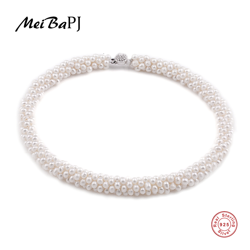 [MeiBaPJ] Natural 100% Genuine Pearl Necklace With 925 Silver Clasp Pearl Jewelry Choker Necklace 2 3mm green natural agate choker necklace multi layers 925 silver with real pearl fine womne jewelry wedding party necklace