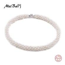 [MeiBaPJ] Naturali Al 100% Genuino Collana di Perle Con Argento 925 Catenaccio Della Perla Dei Monili Della Collana Del Choker