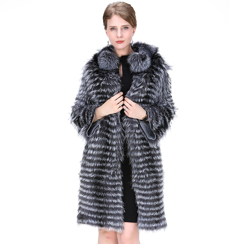 Genuine Gray Silver Fox Fur Coat Long Fashion England Style Winter Thick Warm Grey Striped Real Fox Skin Overcoat For Women