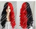 Горячая красивая харли квинн парик черный и красный длинные вьющиеся волосы косплей + vadzdslidsf 4 теплоизоляционный слой cospay парики