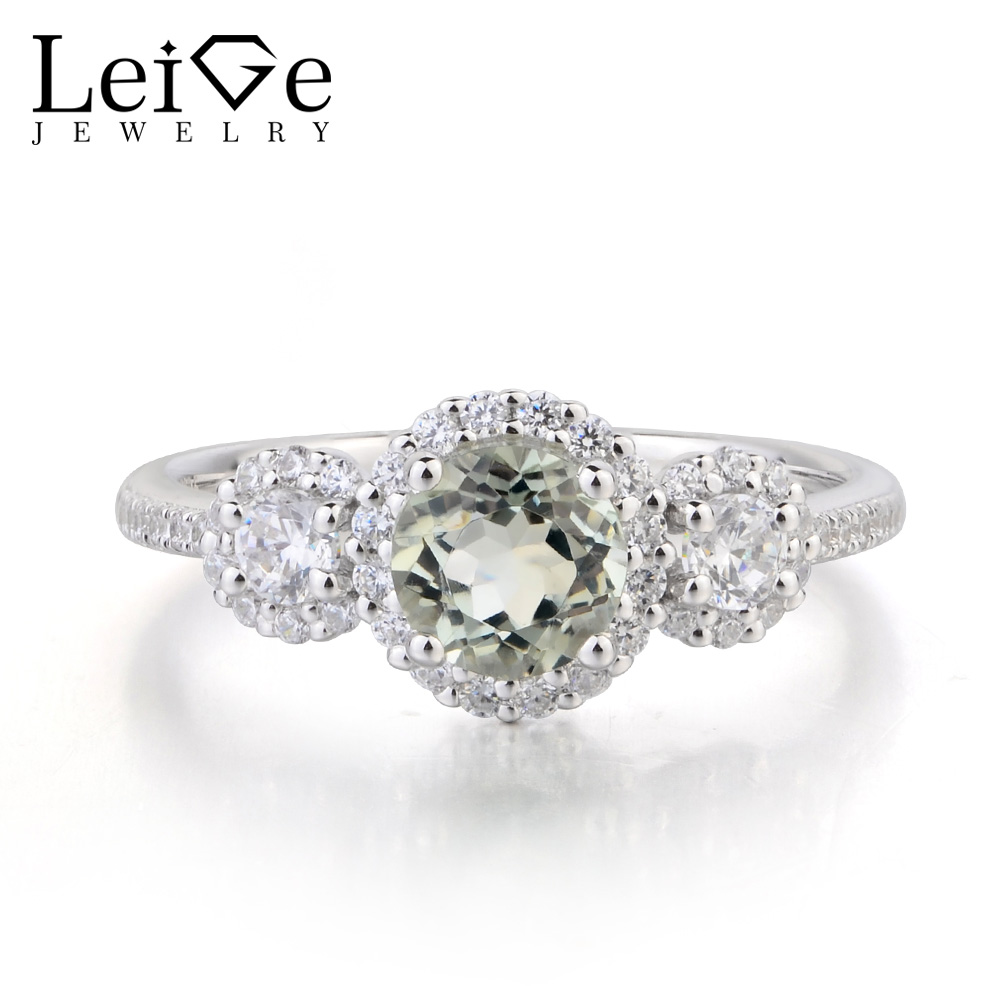Leige Jewelry Anniversary Ring Natural Green Amethyst Ring Round Cut Gemstone 925 Sterling Silver Ring February Birthstone Gifts leige jewelry solitaire ring natural green amethyst ring anniversary ring emerald cut green gemstone 925 sterling silver gifts
