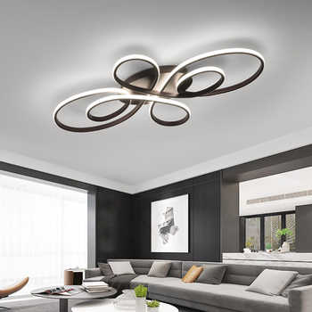 New Hot RC White/Coffee Finish Modern Led Chandelier For Living Room Bedroom Study Room Dimmable Ceiling Chandelier Fixtures - Category 🛒 Lights & Lighting