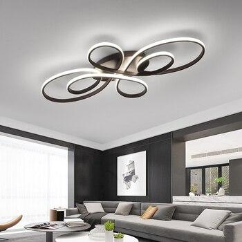 Nuevo candelabro Led moderno con acabado de café/blanco RC para sala de estar, dormitorio, sala de estudio, lámparas de techo regulables